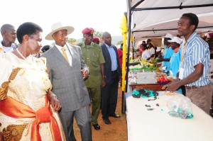 Plastic bag and egshell floor covering exhibiting to president Museveni