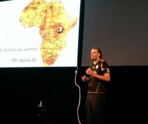SINA founder Etienne Salborn presenting at the HIVOS Social Innovation Award Ceremony in Amsterdam